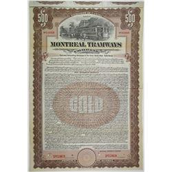 Montreal Tramways Co. 1911 Specimen Bond Rarity
