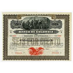 Banco de Colombia, ca.1900-1920 Specimen Bond