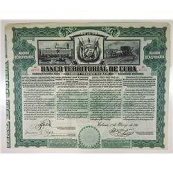 Banco Territorial de Cuba, 1911 I/U Stock Certificate