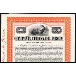 Compania Cubana De Jarcia 1913 Specimen Bond.