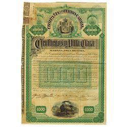 La Compania del Ferro-Carril entre Cien Fuegos Y Villa-Clara, 1890 Issued Bond