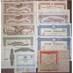 French Stock and Bond Certificate Assortment, 1899-1929