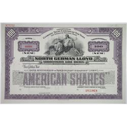 "North German Lloyd 1929 Specimen ""American Shares"" Stock Certificate"