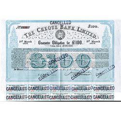 Cheque Bank Ltd. 1876 I/C Bond.