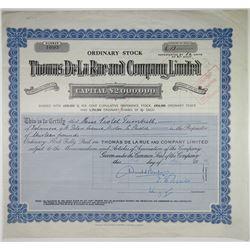 Thomas de la Rue and Co. Ltd., 1952 Cancelled Stock Certificate