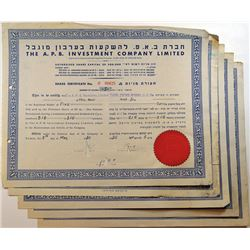 A.P.B. Investment Co. Ltd., 1950-1952, Cancelled Stock Certificates.