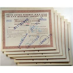 A.P.B. Investment Co. Ltd., 1951-1952, Cancelled Stock Certificates.