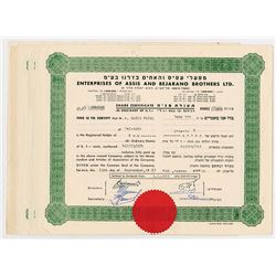 Enterprises of Assis and Bejarano Brothers Ltd.  1957-1969 Group of 7 Issued Stock Certificates