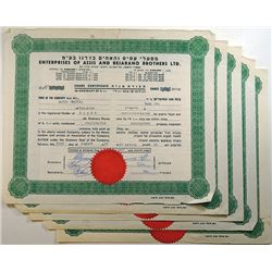 Enterprises of Assis and Bejarano Brothers Ltd., 1964-1967 Group of Issued Stock Certificates.