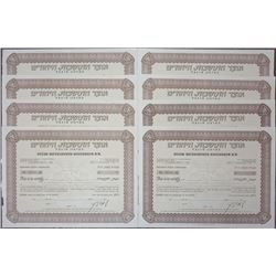 Otzar Hityashvuth Hayehudim B.M., ca.1950-1960 Group of Stock Certificates.