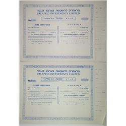Palafric Investments Ltd., ca.1950s Pair of Stock Certificates