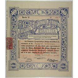 Primera Cooperativa Mutual Israelita, 1937 I/U Stock Certificate