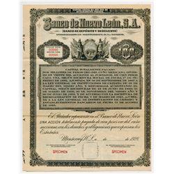Banco de Nuevo Leon Sociedad Anonima, 1928 Specimen Stock/Bond.