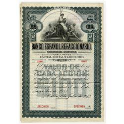 Banco Espanol Refaccionario, 1912 Specimen Bond