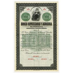 Banco Hipotecario Y Agricola Del Pacifico, S.A., 1913 Specimen Bond Payable in Silver.