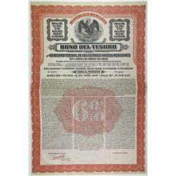 Bono Del Tesoro Del Gobierno Federal de Los Estados Unidos Mexicanos, 1913 Specimen Bond.
