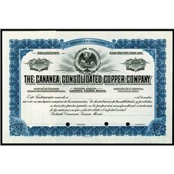 Cananea Consolidated Copper Co. 1910-20, Specimen Stock Certificate