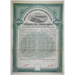 Estado de Chihuahua 1901 Specimen Bond