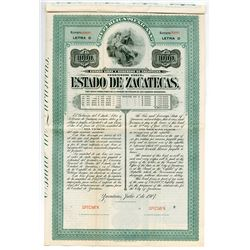 Estado de Zacatecas 1907 Specimen Bond