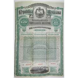 Ferrocarril Nacional de Tehuantepec 1890 Specimen Bond Rarity