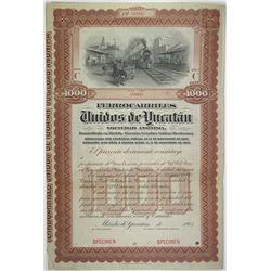 Ferrocarriles Unidos de Yucatan 1903 Specimen Stock Certificate