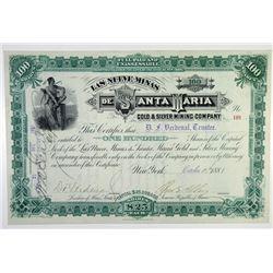Las Nueve Minas de Santa Maria Gold & Silver Mining Co. 1881 Stock Certificate