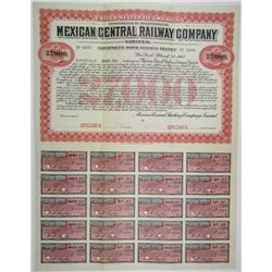 Mexican Central Railway Co. Ltd. 1907 Specimen $27,000 Gold Bond
