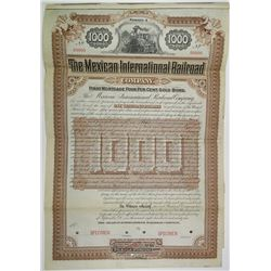 Mexican International Railroad Co. 1892 Specimen Bond Rarity