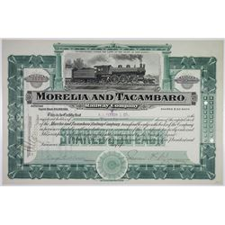 Morelia and Tacambaro Railway Co. 1907 I/U Stock Certificate