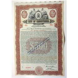 "City of Christiania with Overprint ""Name Changed to Oslo"", 1924 Specimen Bond"