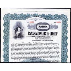 Panama Power & Light Co., 1917 Specimen Bond