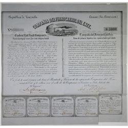 Compania Del Ferrocarril Del Este - Eastern Rail Road Co. 1860 I/U Bond Rarity
