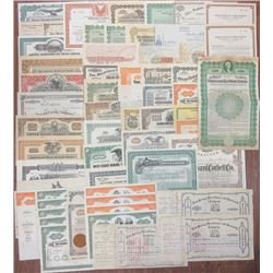 Collection of Issued Stock Certificates and Bonds