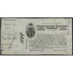 Atlas Powder Co., ca.1910-1920 Proof Stock Certificate