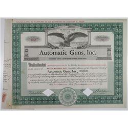 Automatic Guns, Inc. 1935 I/C/ Stock Certificate.