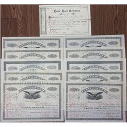 Eagle Lock Company Stock Certificate Assortment ca.1881-1896