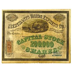 Merchants Union Express Co., 1867  I/U  Stock Certificate