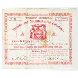 West India Trading and Manufacturing Co. 1886 Stock Certificate