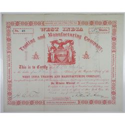 West India Trading and Manufacturing Co., 1886 I/U Stock Certificate.