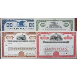 Quartet of Manufacturing Related Specimen Stock Certificates, ca.1930-1970