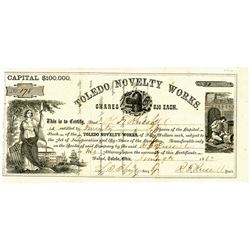 Toledo Novelty Works 1862 I/U Stock Certificate.