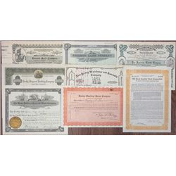 Land & Real estate I/U and I/C Stock and Bond Certificate assortment, 1879-1928