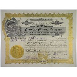 Newsboy Mining Co., 1914 I/U Stock Certificate, Alaska Mine.