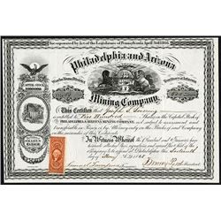 Philadelphia and Arizona Mining Co. 1868 I/U Stock Certificate