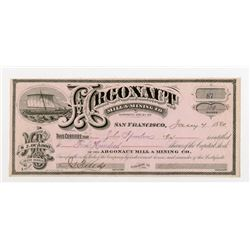 Argonaut Mill & Mining Co. 1880 I/U Stock Certificate