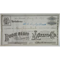 Bodie Bluff Consolidated Gold Mining Co. 1879 I/U Stock Certificate