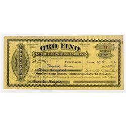 Oro Fino Gold Mining & Milling Co. 1882 I/U Stock Certificate