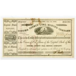 Sonoma County Coal Mining Co. 1863 I/U Stock Certificate