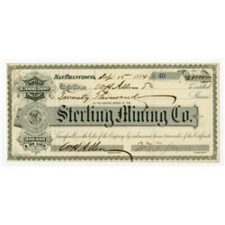 Sterling Mining Co. 1884 I/U Stock Certificate