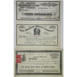 California, Dakota Territory & Nevada Mining Stocks 1880-1892 Stock Certificate Trio